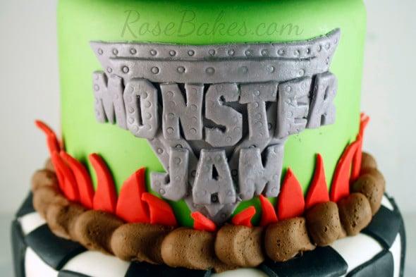 Monster Jam Fondant Logo Cake
