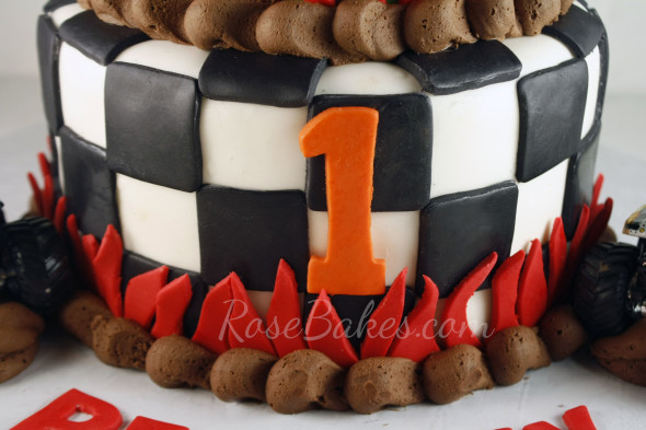 Monster Jam cake with Fire and Checkerboard Tier