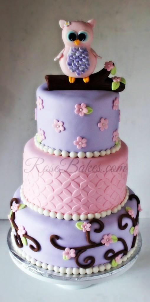 Owl Baby Shower Cake RoseBakes