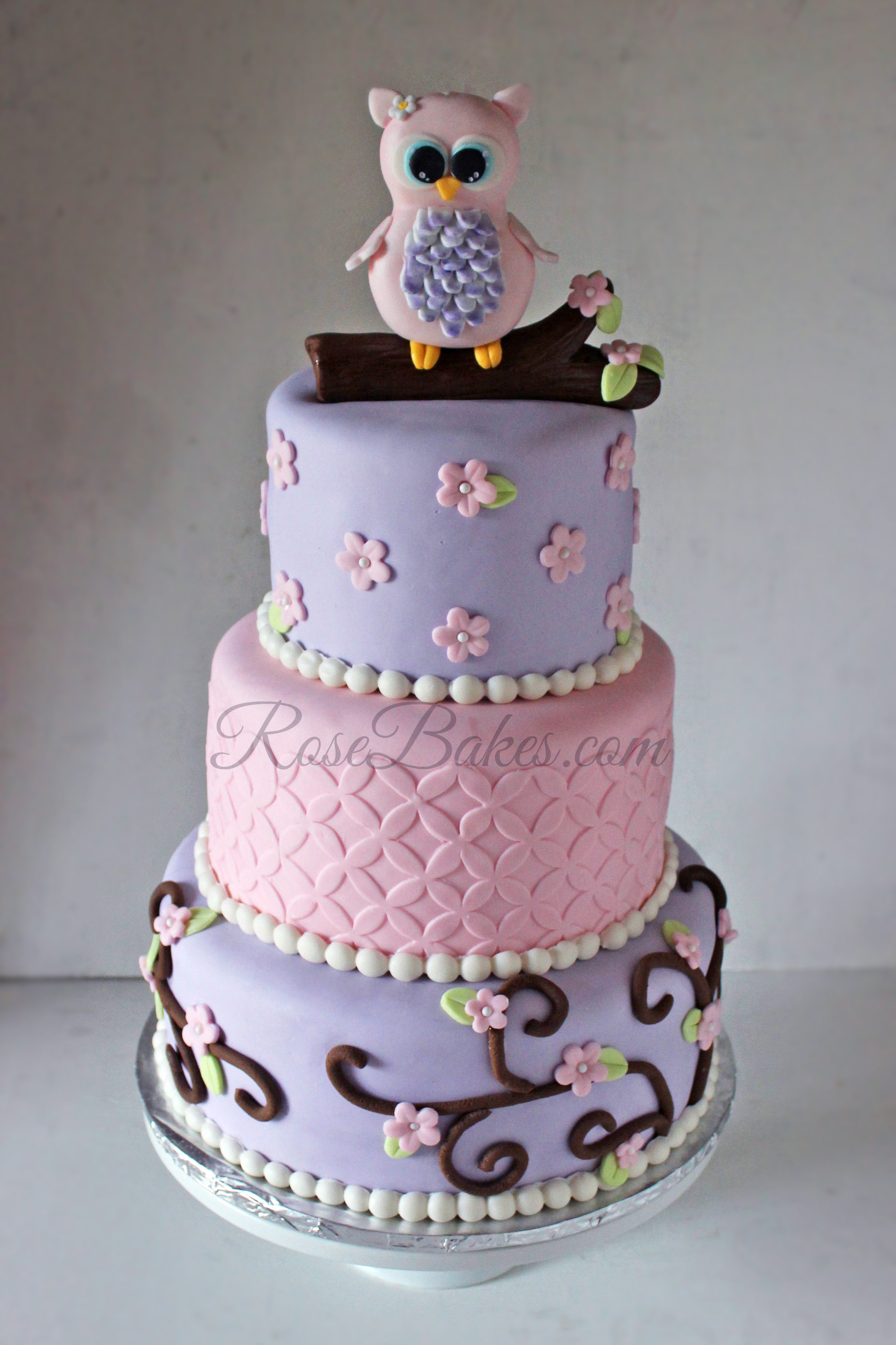 Cake Baby Shower Owl : Pink Owl Baby Shower Cake - Rose Bakes