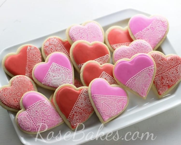 Valentines Lace Cookies | 13+ Valentines Cakes