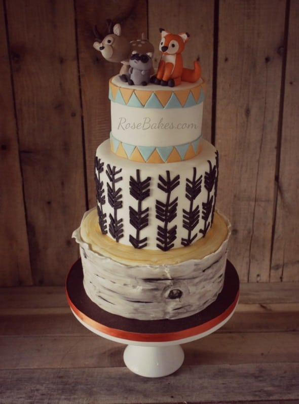 Woodland Animals Arrows Cake