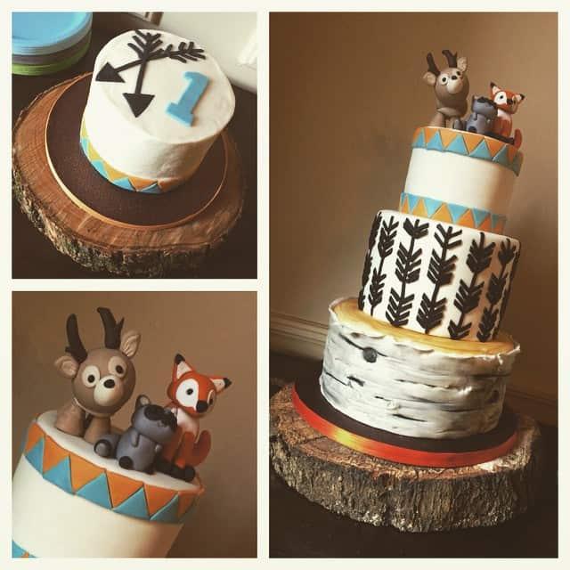 Woodland Animals Cake Collage
