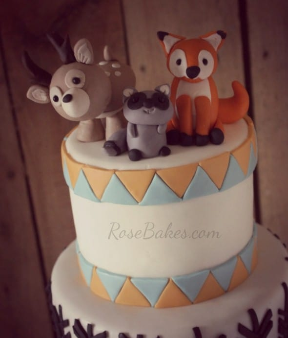 Woodland Animals Cake With Arrows Birch Tree Rose Bakes