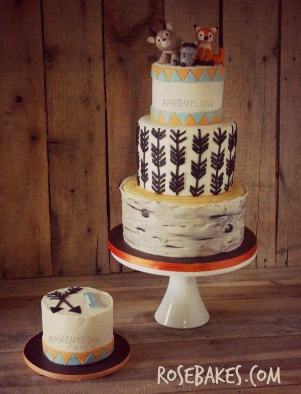 Woodland Animals Cake with Arrows & Birch Tree