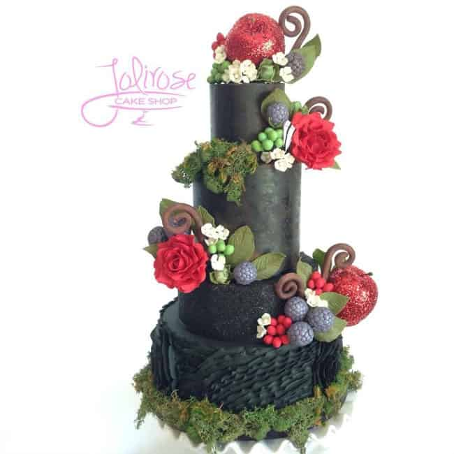 Black and Red Nature Cake