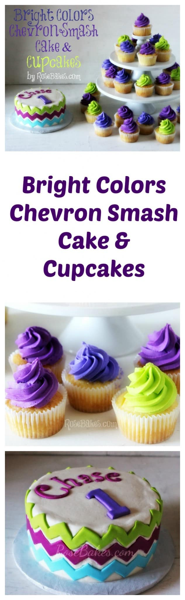 Bright Colors Chevron Smash Cake and Cupcakes RoseBakes