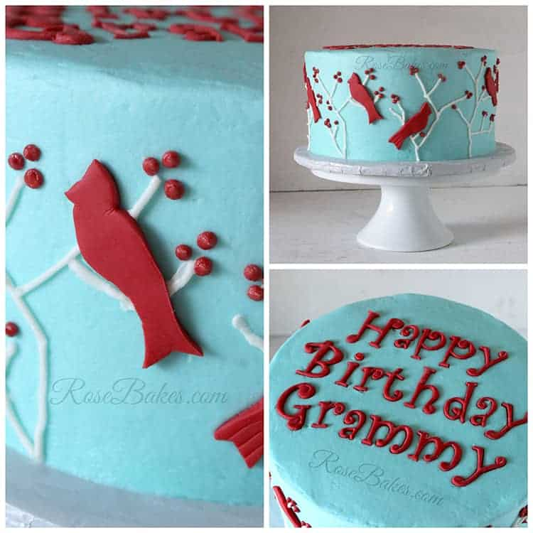 Cardinal Cake Images : Turquoise and Red Birds Cake - Rose Bakes