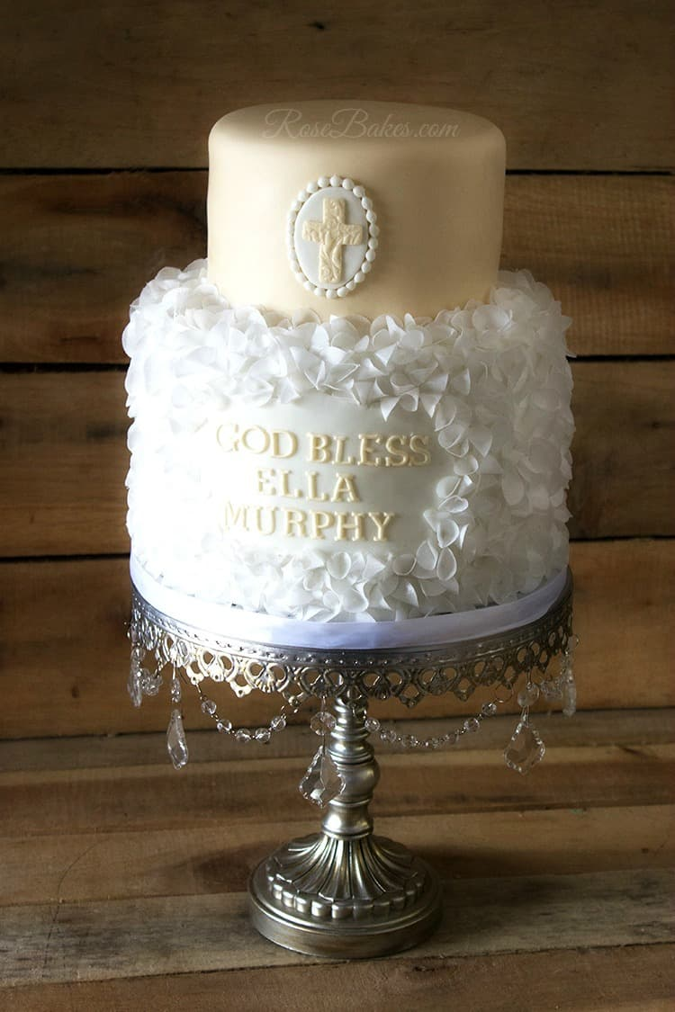 Cream Amp White Christening Cake Wafer Paper Ruffles