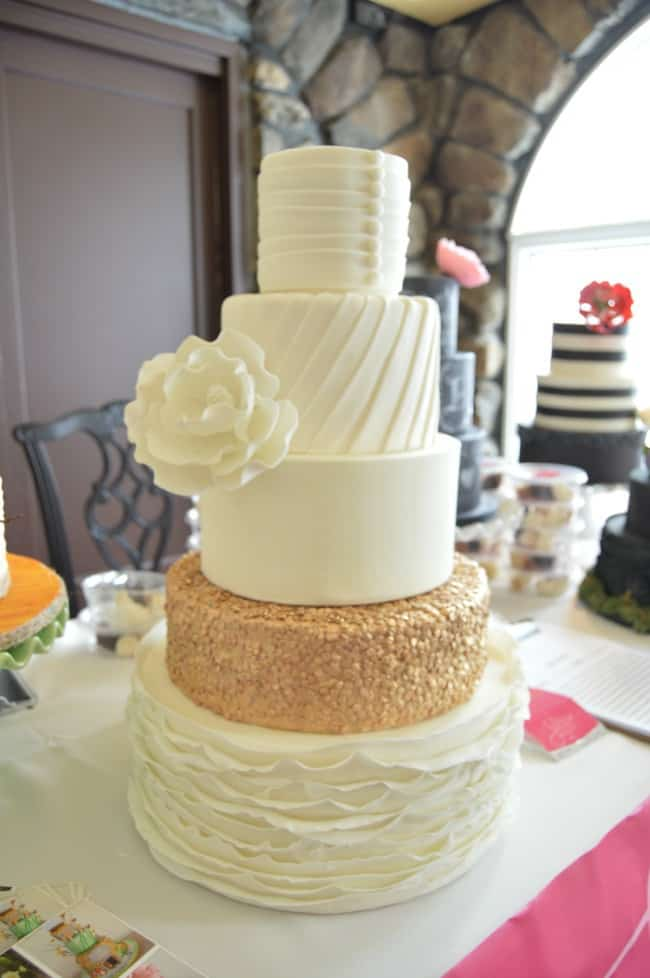 Classic Wedding Cake with Gold Sequins