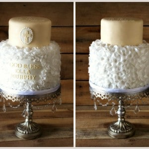 Cream-White-Christening-Cake-with-Wafer-Paper-Petals-300x300 Baby Shower Cake Designs Pictures