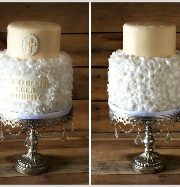 Cream & White Christening Cake with Wafer Paper Petals