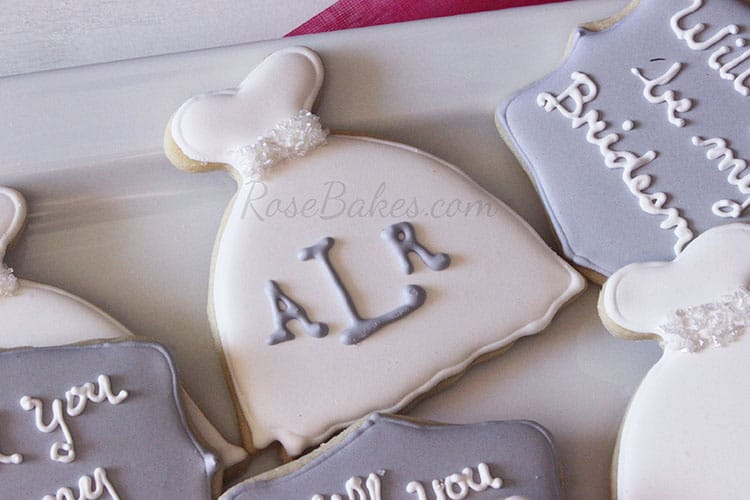Monogram Wedding Dress Cookies