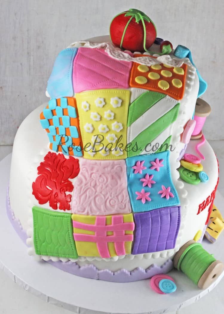 70th Birthday Sewing Quilting Cake Rose Bakes