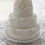 Vintage Lace and Roses Wedding Cake