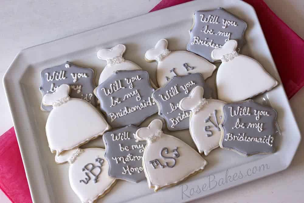 Will You Be My Bridesmaid and Wedding Dress Cookies