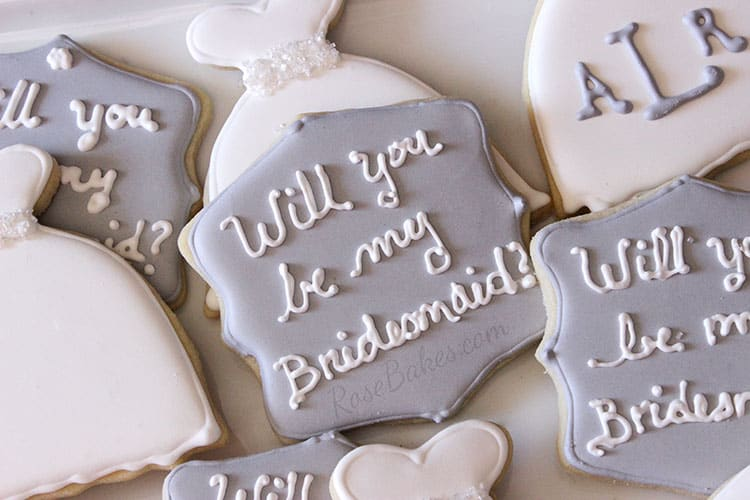 Will You Be my Bridesmaid and Dress Cookies