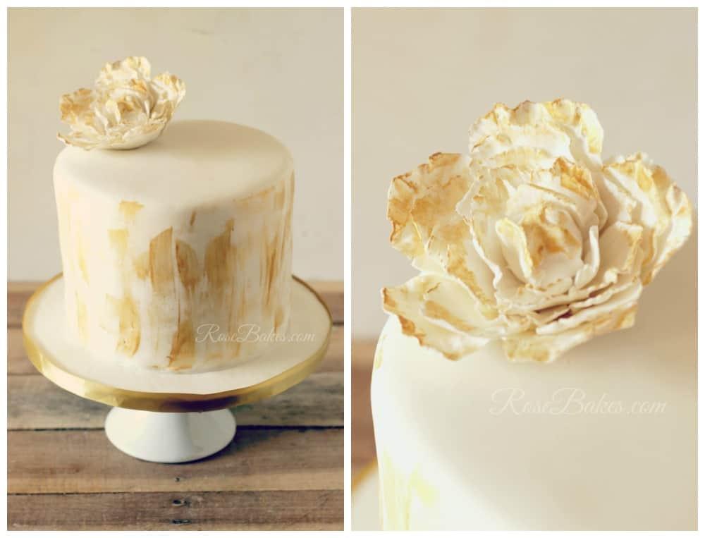 Gold Brushed Peony Cake
