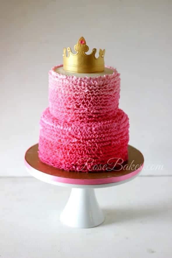 Pink Ombre Buttercream Ruffles Princess Cake