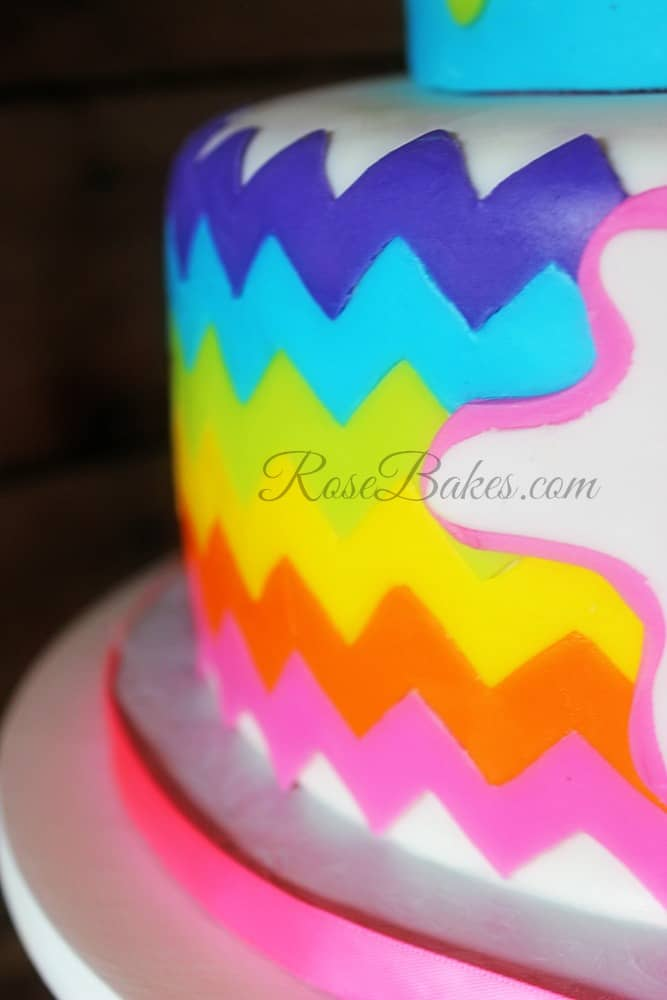 Rainbow Chevron Painting Party Cake Rose Bakes