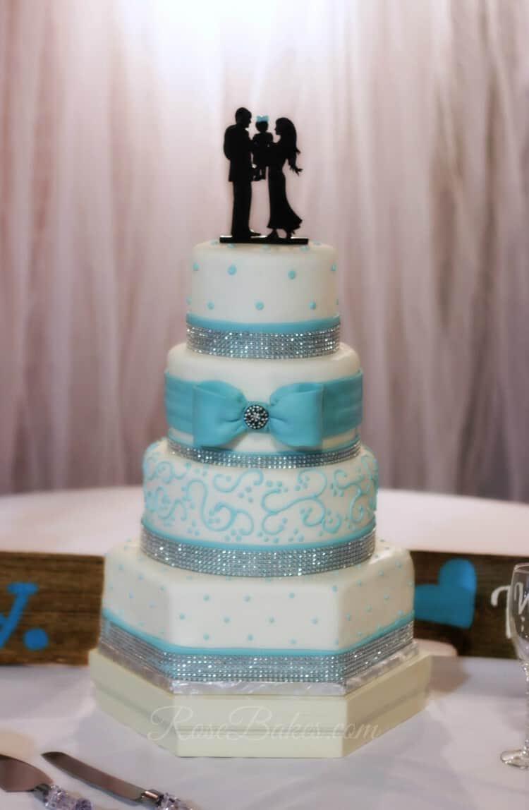 Tiffany Blue & Rhinestones Wedding Cake