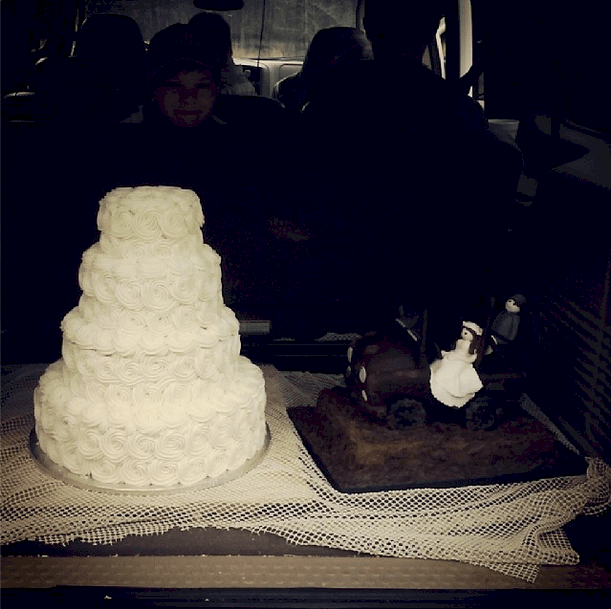 Wedding & Grooms cake loaded in truck