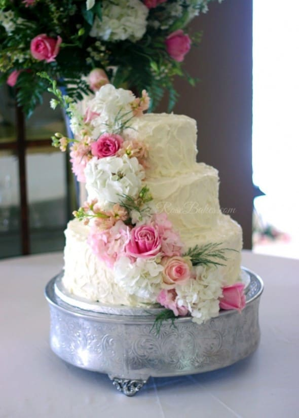 Cascading Pink Flowers Wedding Cake