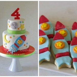 Rocketship Cake and Cookies