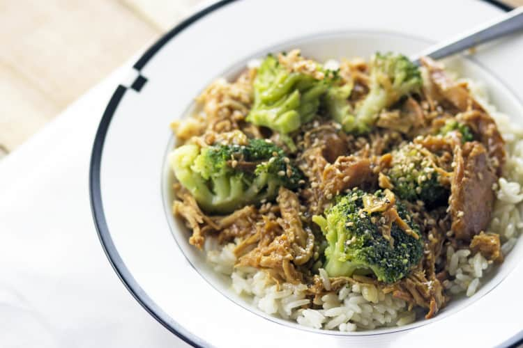 Slow Cooker Teriyaki Chicken with Steamed Broccoli