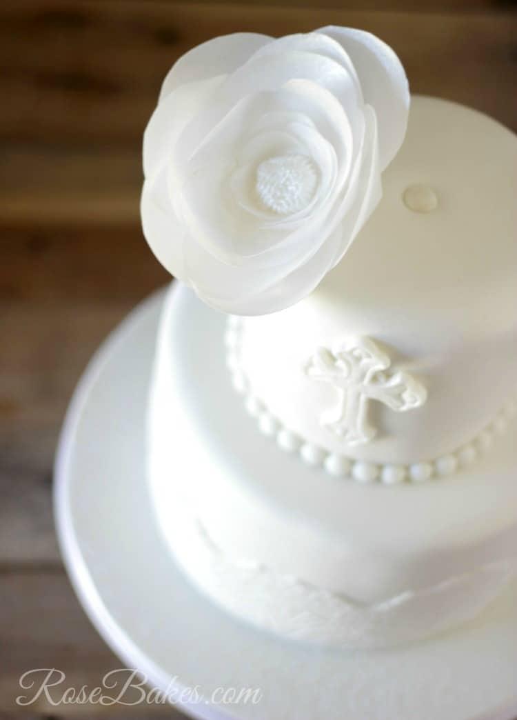 Wafer Paper Flower on Christening Cake