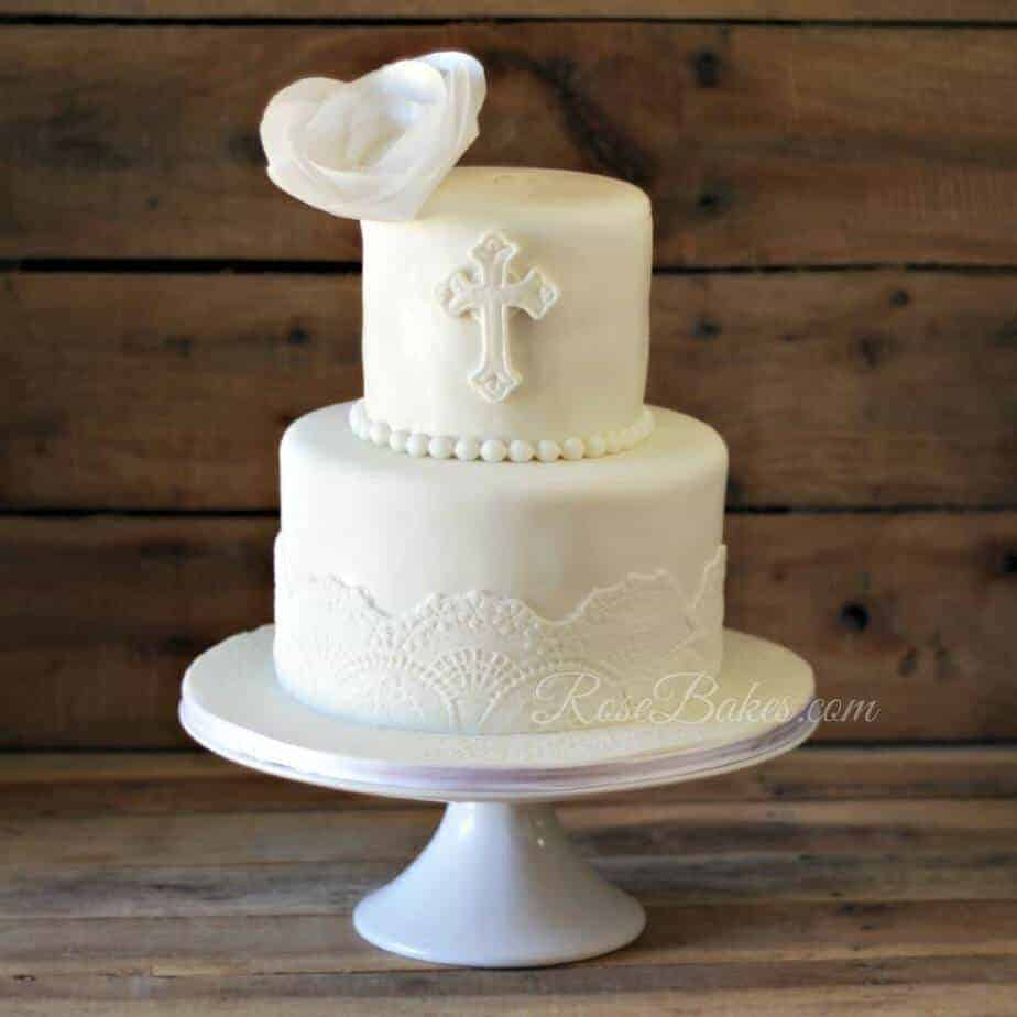 White Lace Christening Cake With Wafer Paper Flower