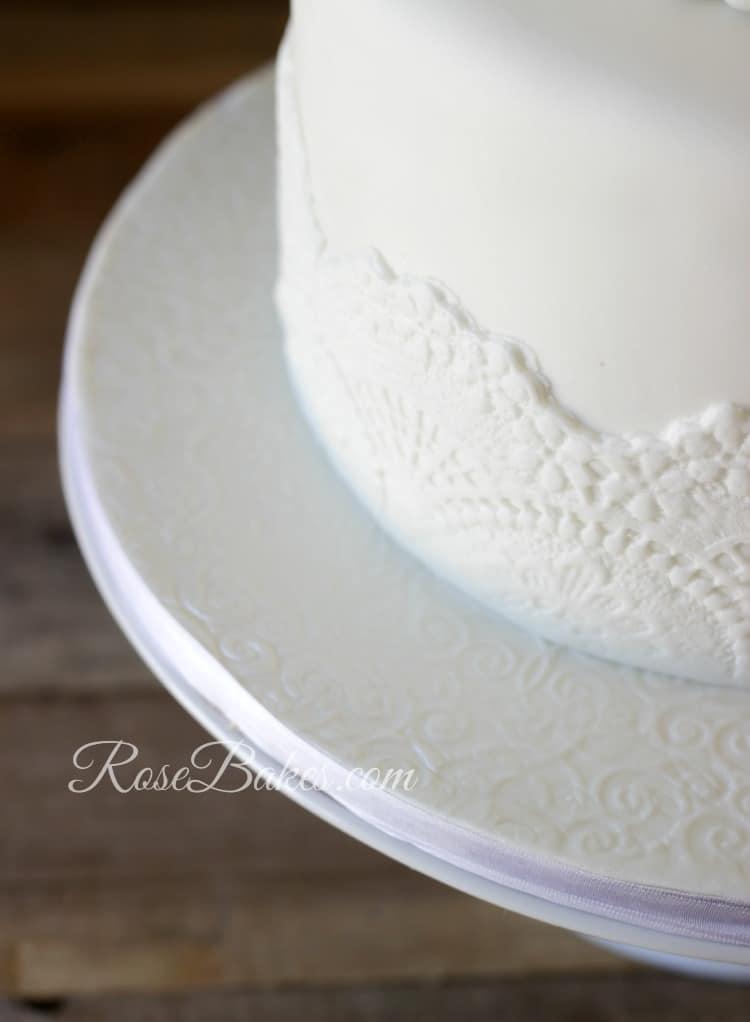 White Fondant Lace Cake