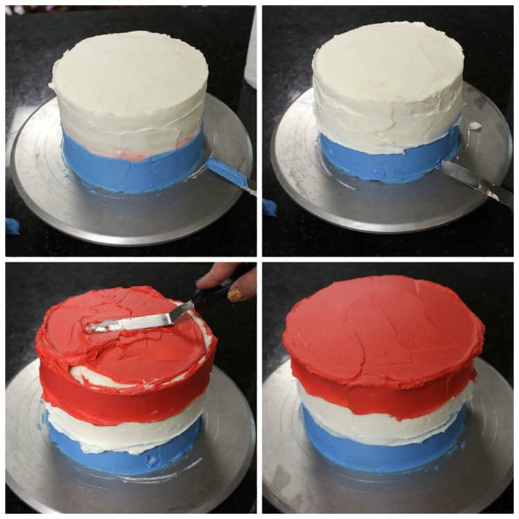 4th of July Cake - Spread on Frosting
