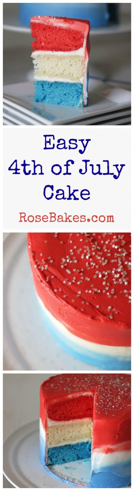 Easy 4th of July Cake RoseBakes.com