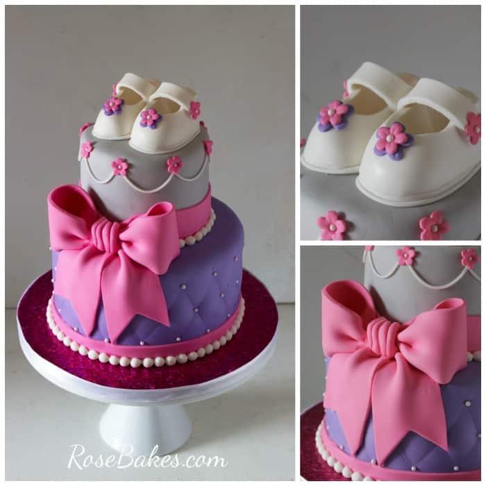 Pink, Purple, Gray Baby Shower Cake