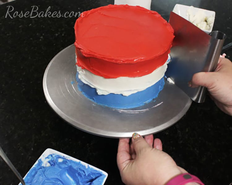 Smoothing 4th of July Cake