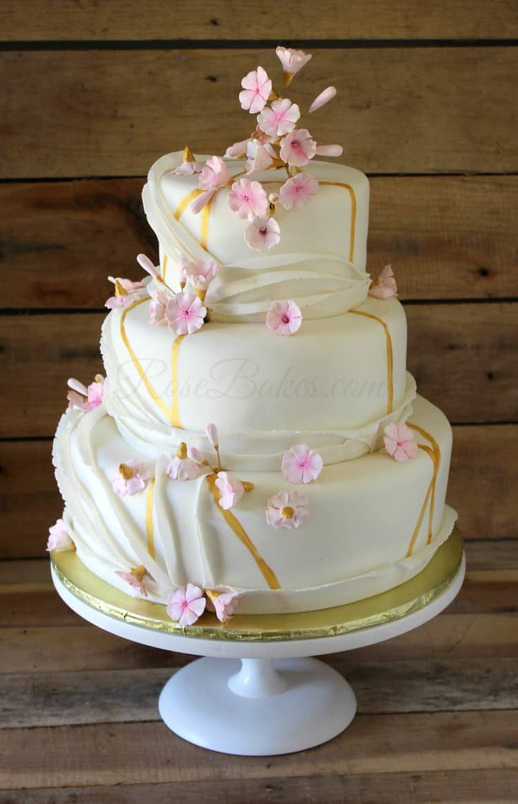 Cherry Blossoms & Gold Wedding Cake