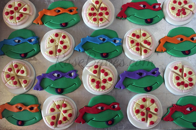 Ninja Turtles and Pizza Cupcake Toppers