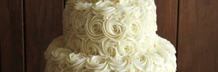 Rustic Ercream Roses Wedding Cake