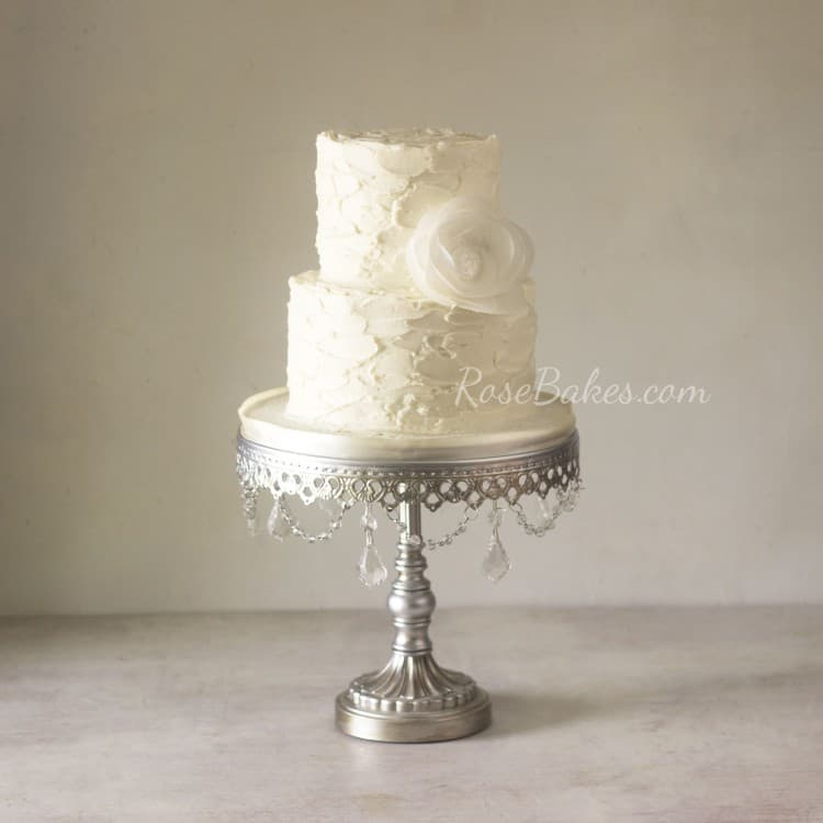 Rustic Buttercream Wedding Cake with Wafer Paper Flower