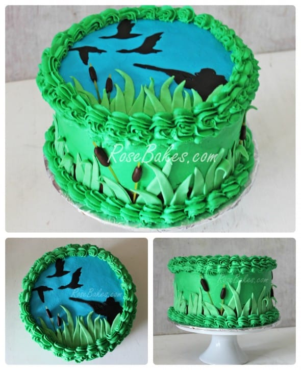 duck hunting cake with sillouettes and grass and reeds