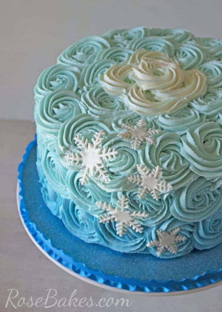 Frozen Ombre Roses Cake with Snowflakes Rose Bakes