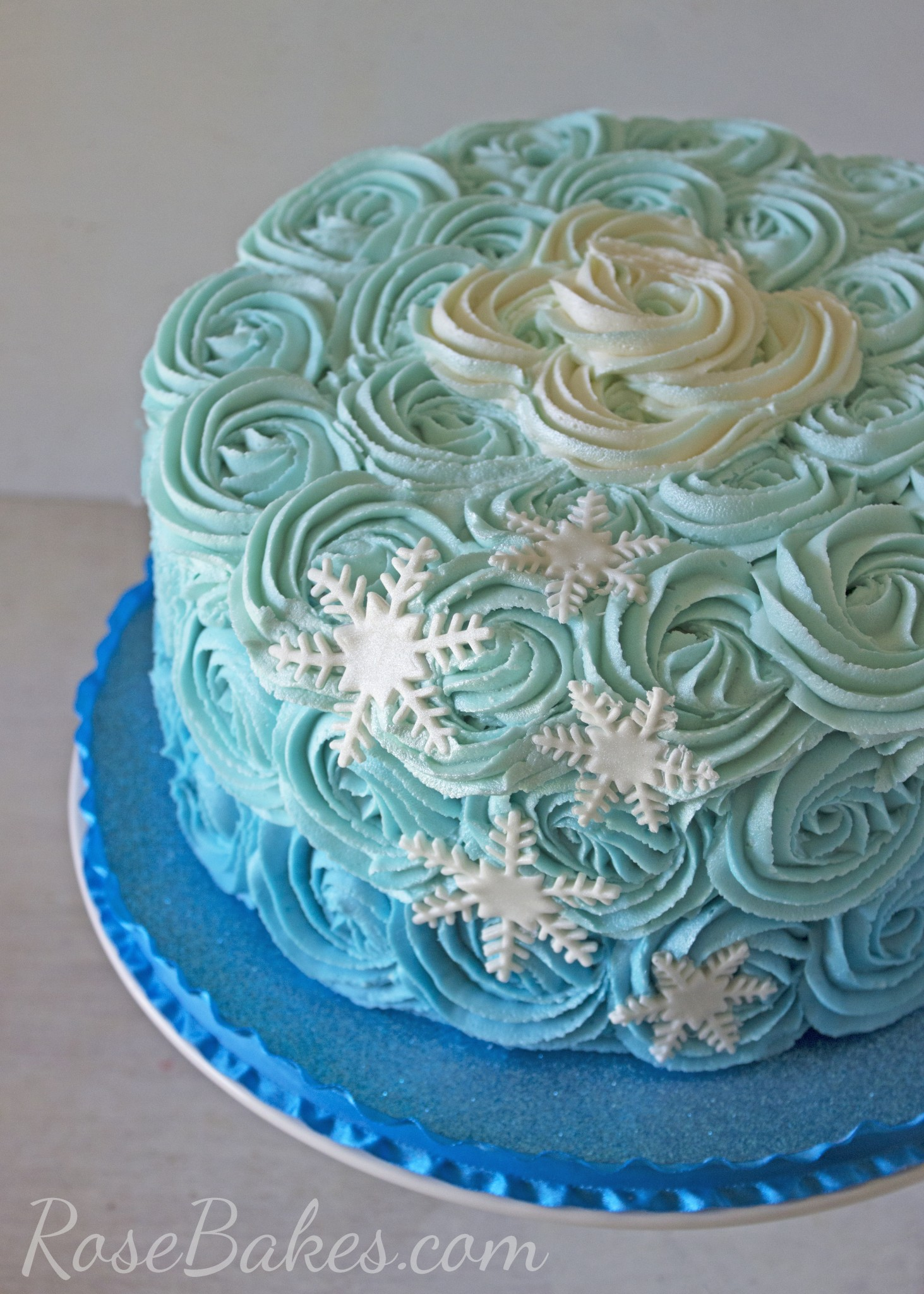 Ombre Buttercream Roses Frozen Cake amp Cupcakes Cookies