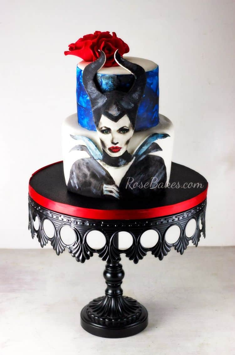 Hand-painted-Maleficient-Cake-with-Roses