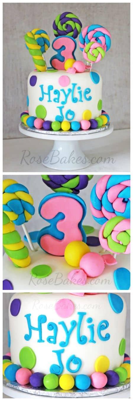Lollipops & Candy Cake at RoseBakes.com