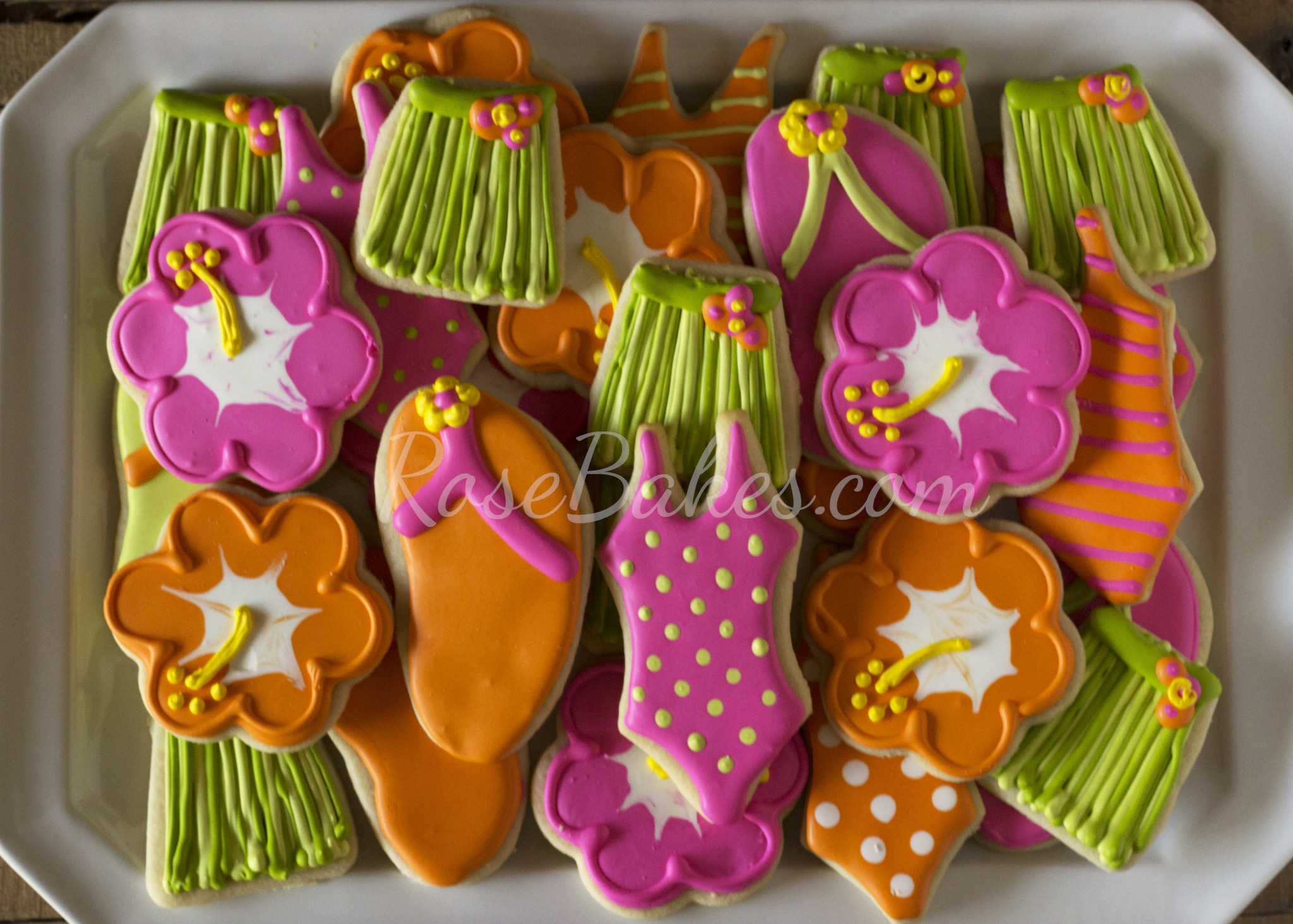 Luau Cookies Flip Flops Hula Skirts Hibiscus Swimsuits
