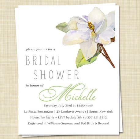 Magnolia Bridal Shower invites