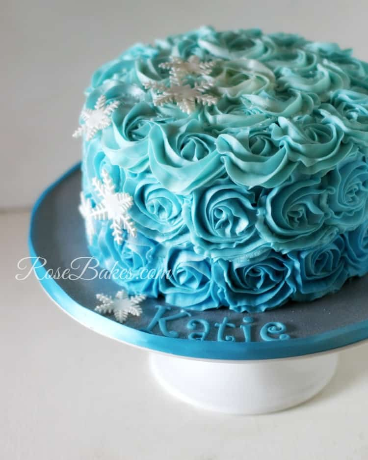 Ombre Buttercream Roses Frozen Cake Amp Cupcakes Amp Cookies