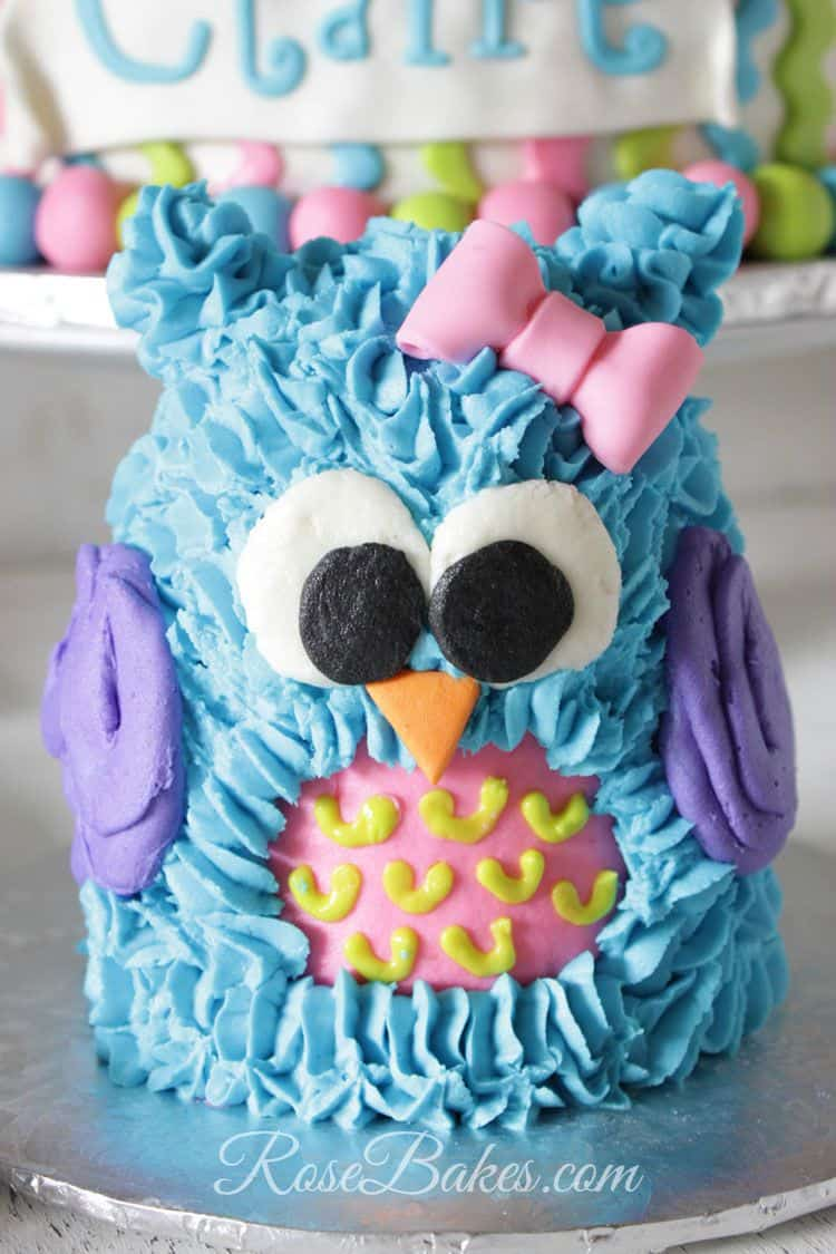 The Little Owl Smash Cake Was Done With 4 Round Cakes And One Mini Half Ball Using This Pan For Top Except Beak Bow