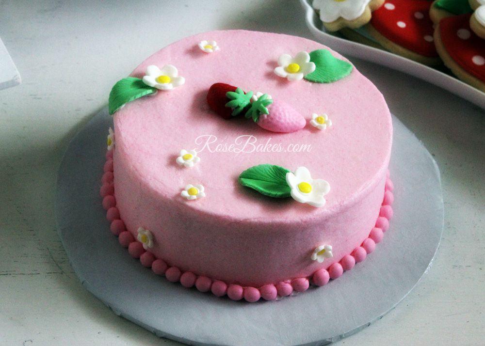 Pink-Strawberries-Smash-Cake